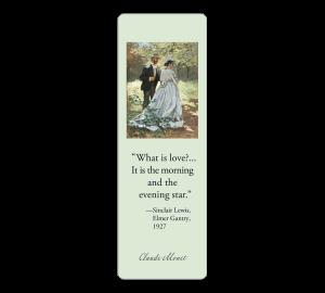 Custom Laminated Bookmark - Monet Painting - Love Quotation