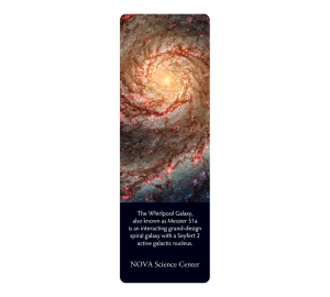 Bookmark with photo of star galaxy with description for Nova Science Center