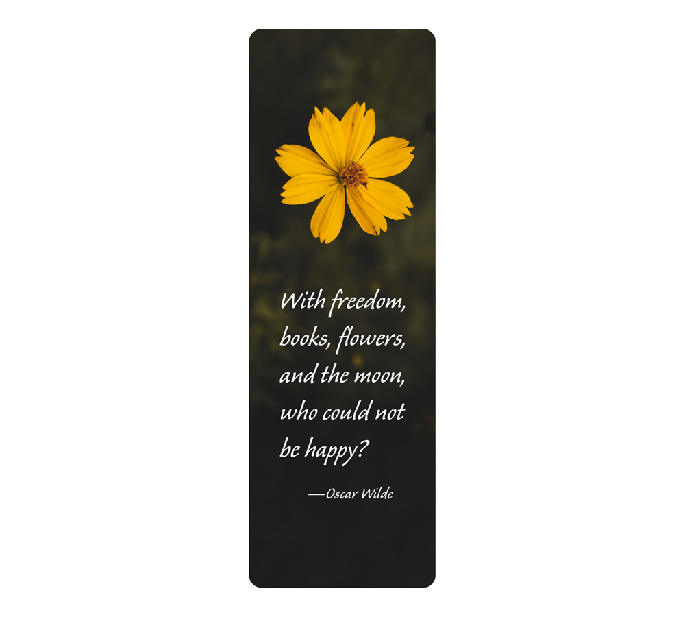 Yellow daisy with Oscar Wilde quote on bookmark with black background