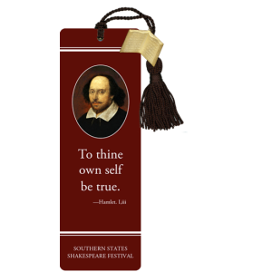 Shakespeare portrait on burgundy bookmark with black tassel and quotation