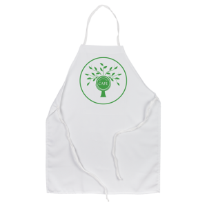 Chef style apron with Green Cafe Logo