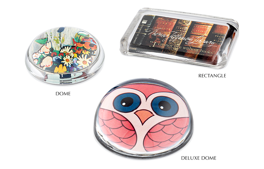 Regular Dome Paperweight with flowers, Rectangle Paperweight with Books, Deluxe Dome with Owl