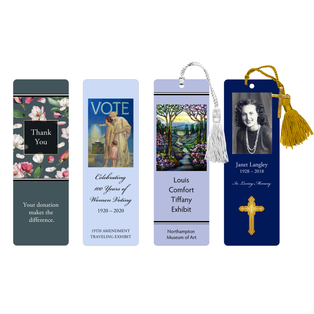 Four bookmarks - Thank you, Vote, Tiffany Glass, Memorial