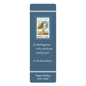 Custom Knitting Group Bookmark with grey background and riddle