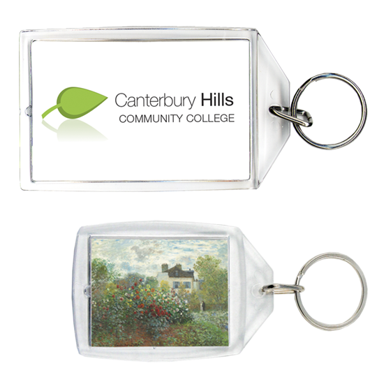 Two sizes of personalized acrylic keychains