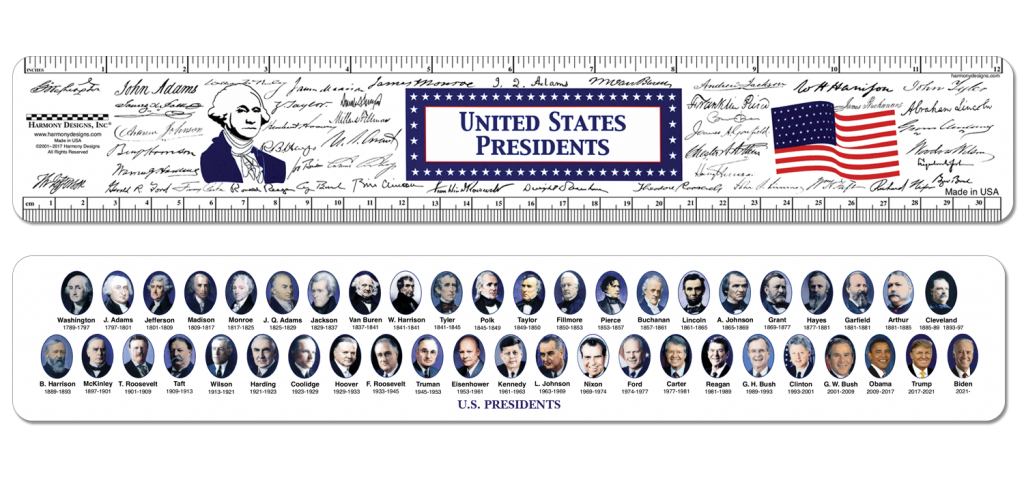 Presidents Ruler with portraits, signatures and when they served