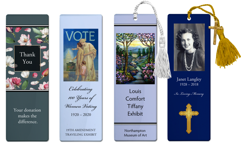Four custom bookmarks side by side - Styles include with and without tassels