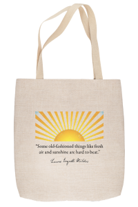 Linen-look tote bag with sun and rays graphic with quotation below
