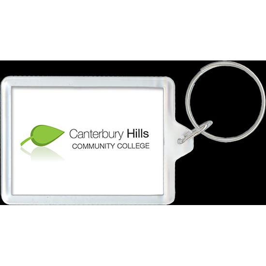 Community college logo on acrylic keychain