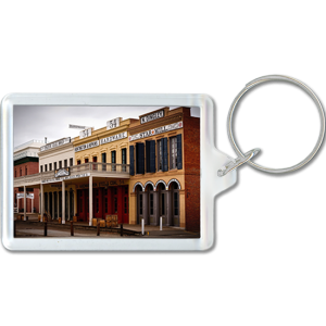View of frontier town on acrylic keychain