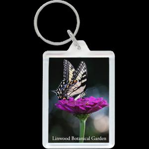 Tiger Swallowtail butterfly on purple flower keychain