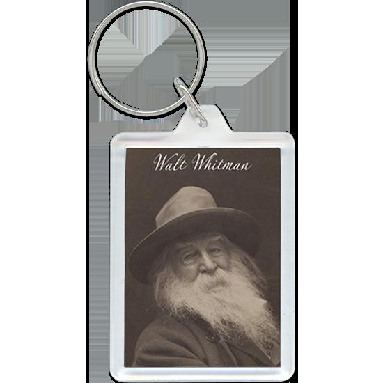 Walt Whitman portrait on acrylic keychain