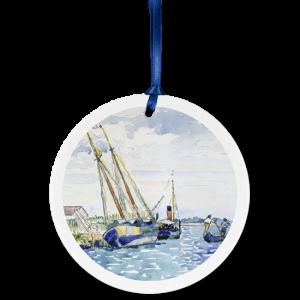 Custom ceramic ornament with sailboat painting