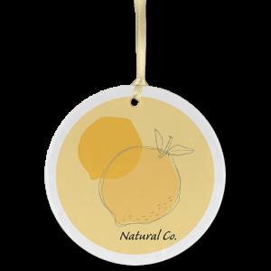 Custom Ceramic ornament example with abstract lemon logo