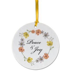 Custom ceramic ornament example with flowers and