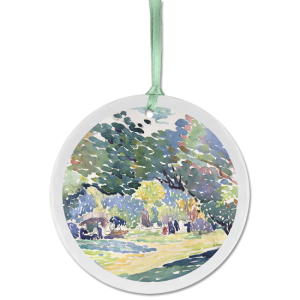 Custom porcelain ornament with impressionist painting