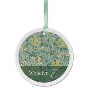 Custom Ceramic Ornament with Art Museum logo and floral wallpaper background
